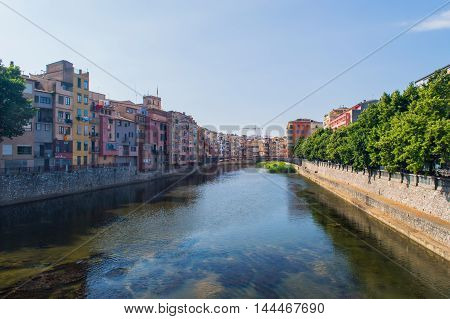 Embankment of river Onyar in Gerona. Catalonia, Spain