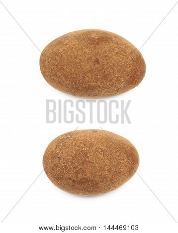 Chocolate coated almond nut isolated over the white background, set of two different foreshortenings