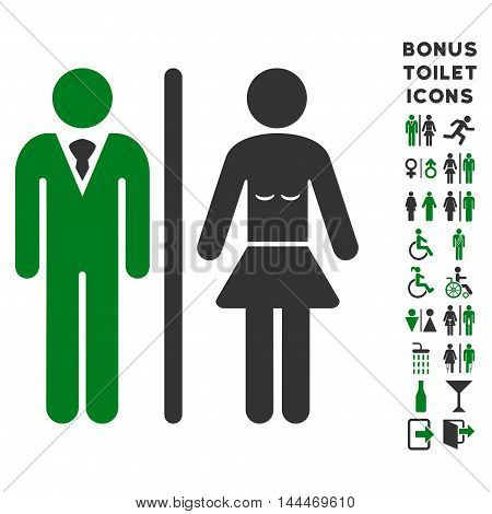 Toilet Persons icon and bonus male and female toilet symbols. Vector illustration style is flat iconic bicolor symbols, green and gray colors, white background.
