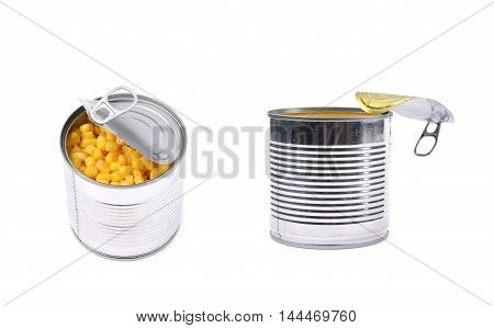 Canned corn in a tincan isolated over the white background, set of two different foreshortenings