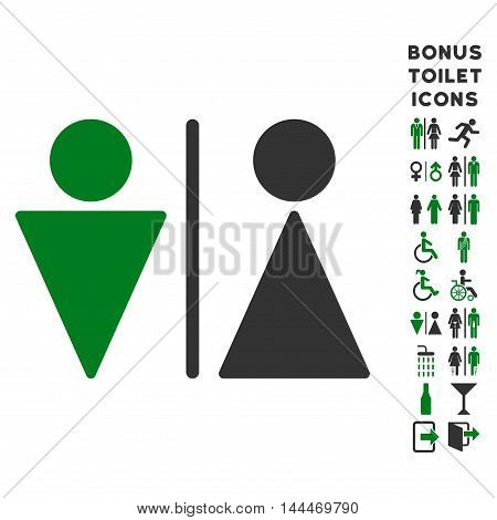 WC Persons icon and bonus gentleman and woman WC symbols. Vector illustration style is flat iconic bicolor symbols, green and gray colors, white background. poster