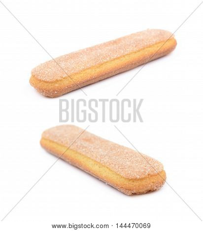 Single ladyfinger savoiardi biscuit cookie isolated over the white background, set of two different foreshortenings