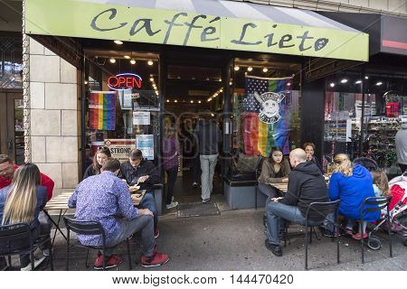 SEATTLE USA - JUNE 11 2016: Caffe LIeto shares its space with another small cafe specializing in biscuits. Together they are a very popular spot for locals and tourists alike.