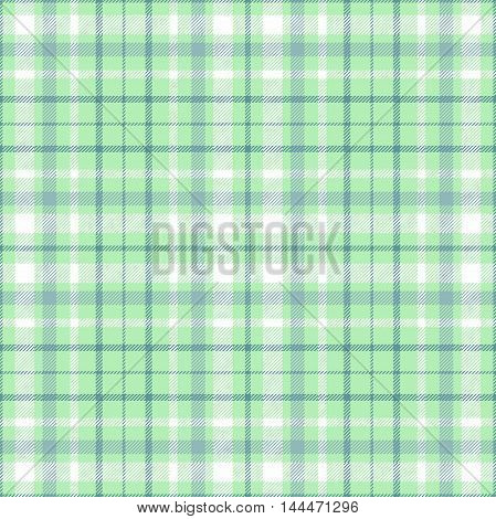 Seamless tartan plaid pattern. White, grayish green & dark green stripes on turquoise green background.
