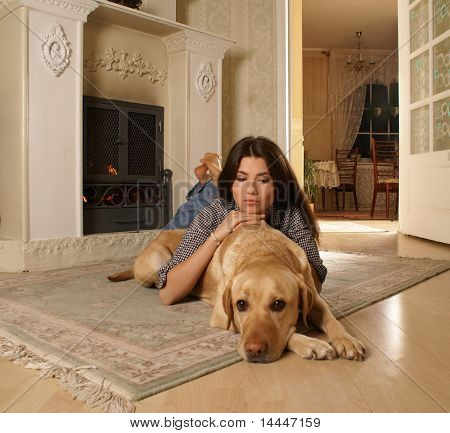 Attractive woman with the dog poster