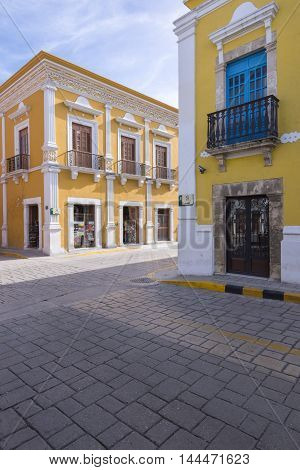 CAMPECHE MEXICO - JULY 8 2016: The charm of Campeche is her beautifully kept historical downtown with clean brick streets and colorful colonial architecture.