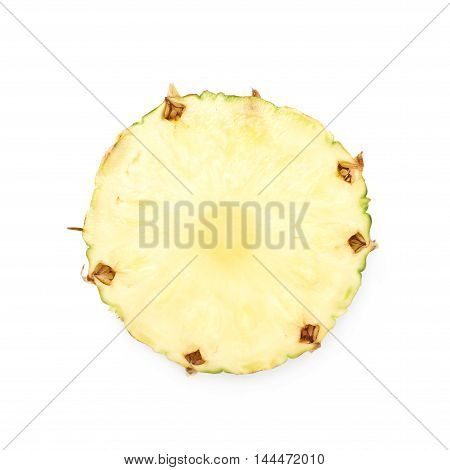 Cross-section pineapple slice isolated over the white background