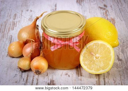 Fresh Organic Honey In Glass Jar, Onions And Lemon, Healthy Nutrition And Strengthening Immunity