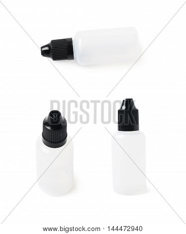 Plasic 30 ml bottle isolated over the white background, set of three different foreshortenings