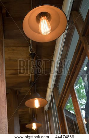 Retro light grey hanging lamp stock photo