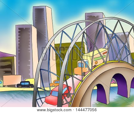 Digital Painting Illustration of a bridge over a river in a big city in a summer day. Cartoon Style Character Fairy Tale Story Background.