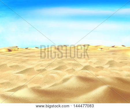 Digital Painting Illustration of a yellow sand under blue sky in a desert. Cartoon Style Character Fairy Tale Story Background.
