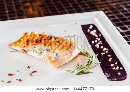 fish steak with sauce