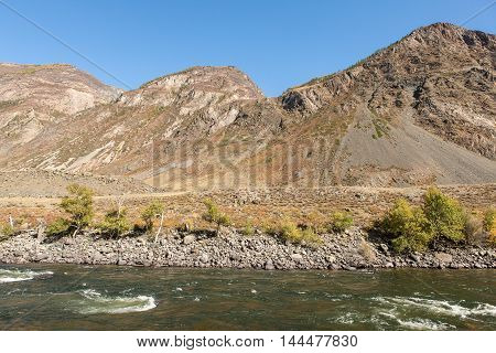 shore of a mountain river in the fall