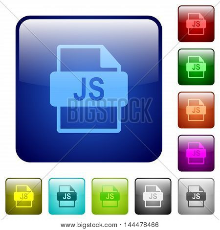 Set of JS file format color glass rounded square buttons