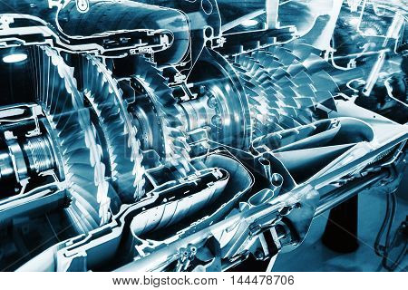 Turbine Engine Profile. Aviation Technologies. Aircraft jet engine detail in the exposition