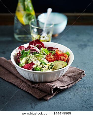 Avocado, Cherry Tomato and Radicchio Salad with Feta and Chia Seeds