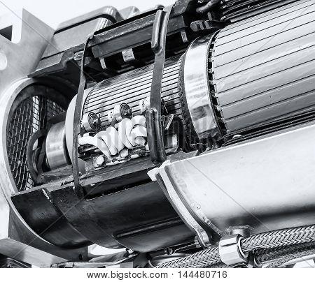 Close up of internal rotor of steam Turbine