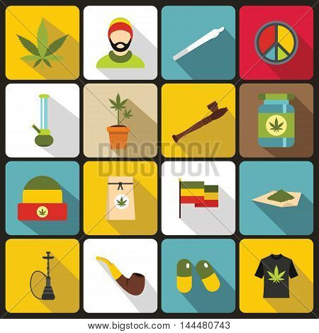 Rastafarian icons set in flat style. set collection. Marijuana equipment vector illustration