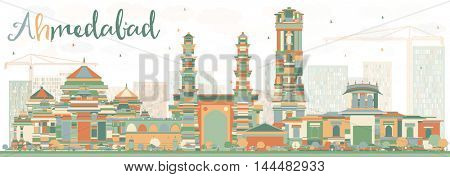Abstract Ahmedabad Skyline with Color Buildings. Business Travel and Tourism Concept with Historic Buildings. Image for Presentation Banner Placard and Web Site.
