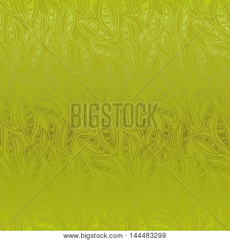 Abstract green leaves pattern background. Seamless linear floral pattern. Packing or wrapping paper, fabric design texture template. Vector illustration stock vector.