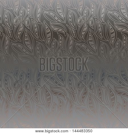 Silver dark abstract leaves pattern background. Seamless linear floral pattern. Packing or wrapping paper, fabric design texture template. Vector illustration stock vector.