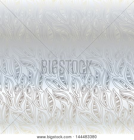 Silver light abstract leaves pattern background. Seamless linear floral pattern. Packing or wrapping paper, fabric design texture template. Vector illustration stock vector.