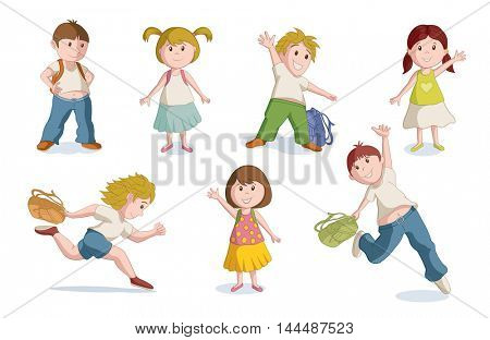 Vector illustration of school children. Global CMYK color.
