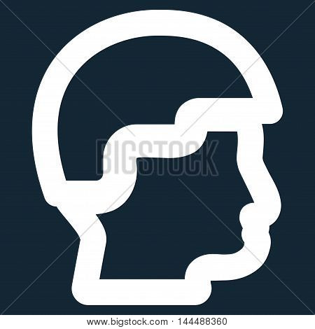 Sergeant Head vector icon. Style is linear flat icon symbol, white color, dark blue background.