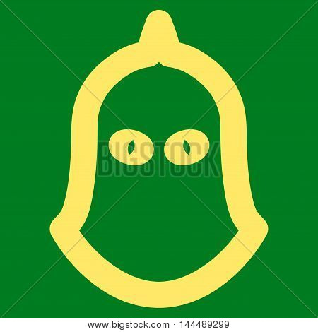 Executioner Helmet vector icon. Style is contour flat icon symbol, yellow color, green background.