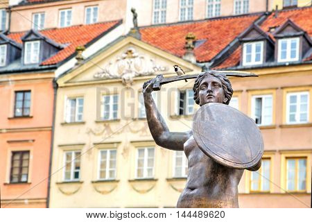 Bronze sculpture of Mermaid in Warsaw Old Town