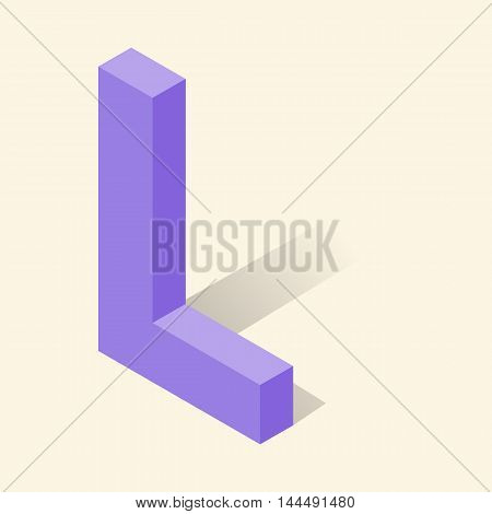 L letter in isometric 3d style with shadow. Violet L letter vector illustration