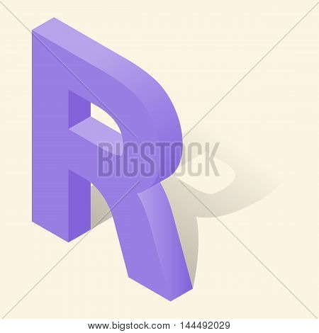 R letter in isometric 3d style with shadow. Violet R letter vector illustration