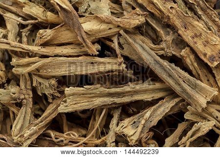 Organic dry hadjod (Cissus quadrangularis) stems. Macro close up background texture. Top view.