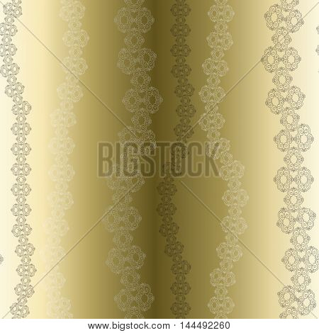 Golden lace seamless pattern with stripes on gold background, Wedding decoration or invitation gesign. Vector illustration stock vector.