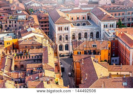 Aerial cityscape view from the tower on Bologna old town with neo-renaissance palace in Italy