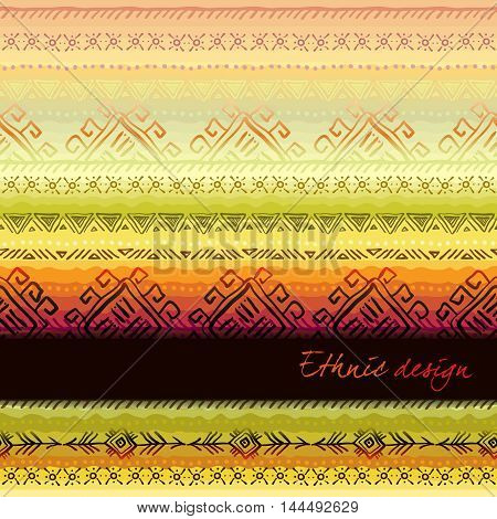 Tribal ornament with ethnic seamless horizontal border. Striped seamless pattern. Geometric multicolor background. Vintage soft colors. Vector illustration stock vector.