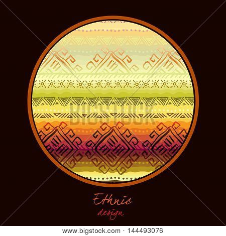 Black background with circle frame and geometric ethnic tribal ornament. Vector illustration stock vector.