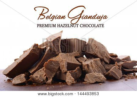 Belgian Gianduja Chocolate Close Up.
