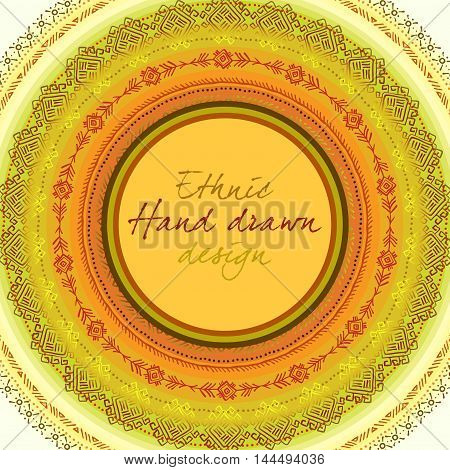 Sunny circle tribal ornament frame with round label and text place in yellow orange background. Geometric ethnic colorful design. Vector illustration stock vector.