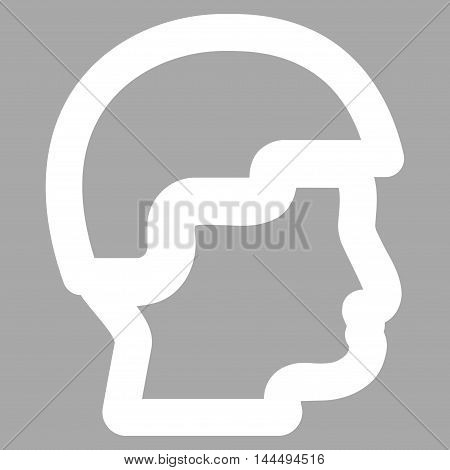 Sergeant Head vector icon. Style is linear flat icon symbol, white color, silver background.