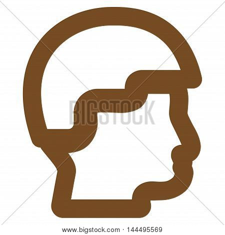 Sergeant Head vector icon. Style is contour flat icon symbol, brown color, white background.