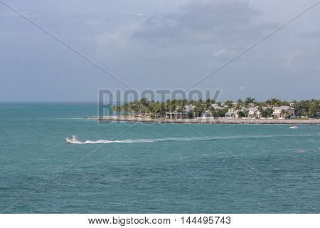 Leisure boats and parasails off the coast of Key West