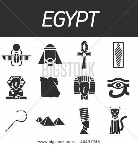 Set of vector design Egypt travel icons and infographics elements with landmarks and famous Egyptian symbols