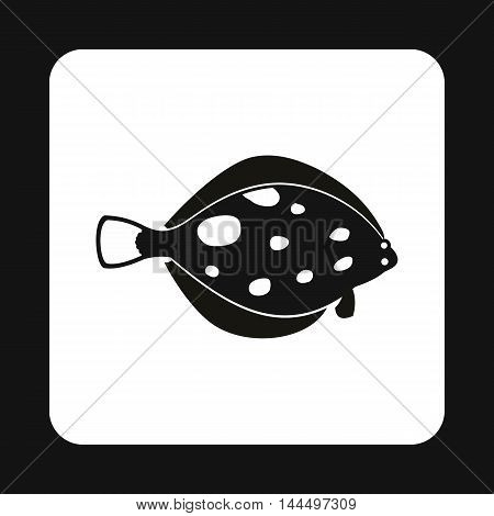 Flounder fish icon in simple style isolated on white background. Inhabitants aquatic environment symbol