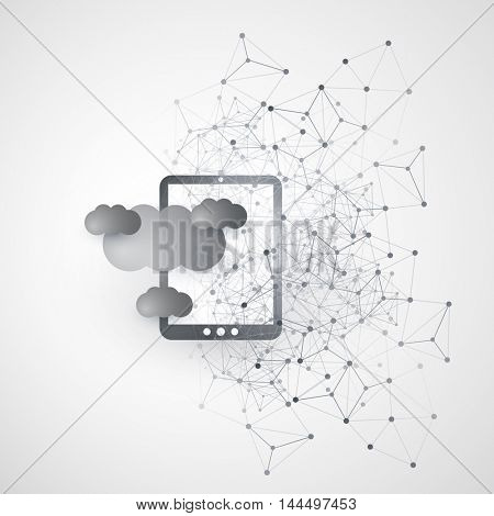 Abstract Cloud Computing and Global Network Connections Concept Design with Digital Tablet, Mobile Device,Transparent Geometric Mesh - Illustration in Editable Vector Format