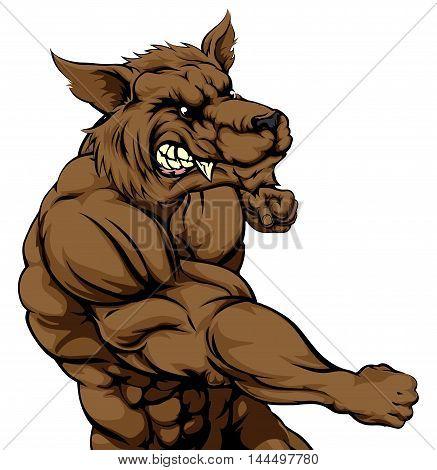 Wolf Mascot Fighting