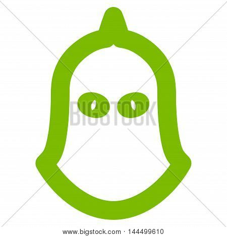 Executioner Helmet vector icon. Style is stroke flat icon symbol, eco green color, white background.
