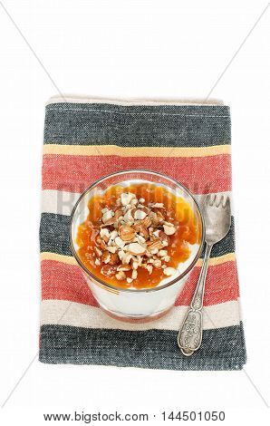 Rice Pudding With Apricot Jam In The Galss