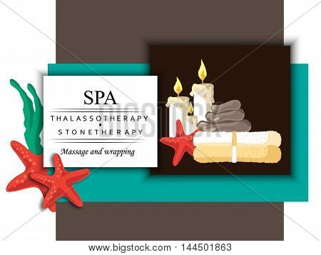 the concept of cosmetology massage and spa procedure with image of candle stone towel